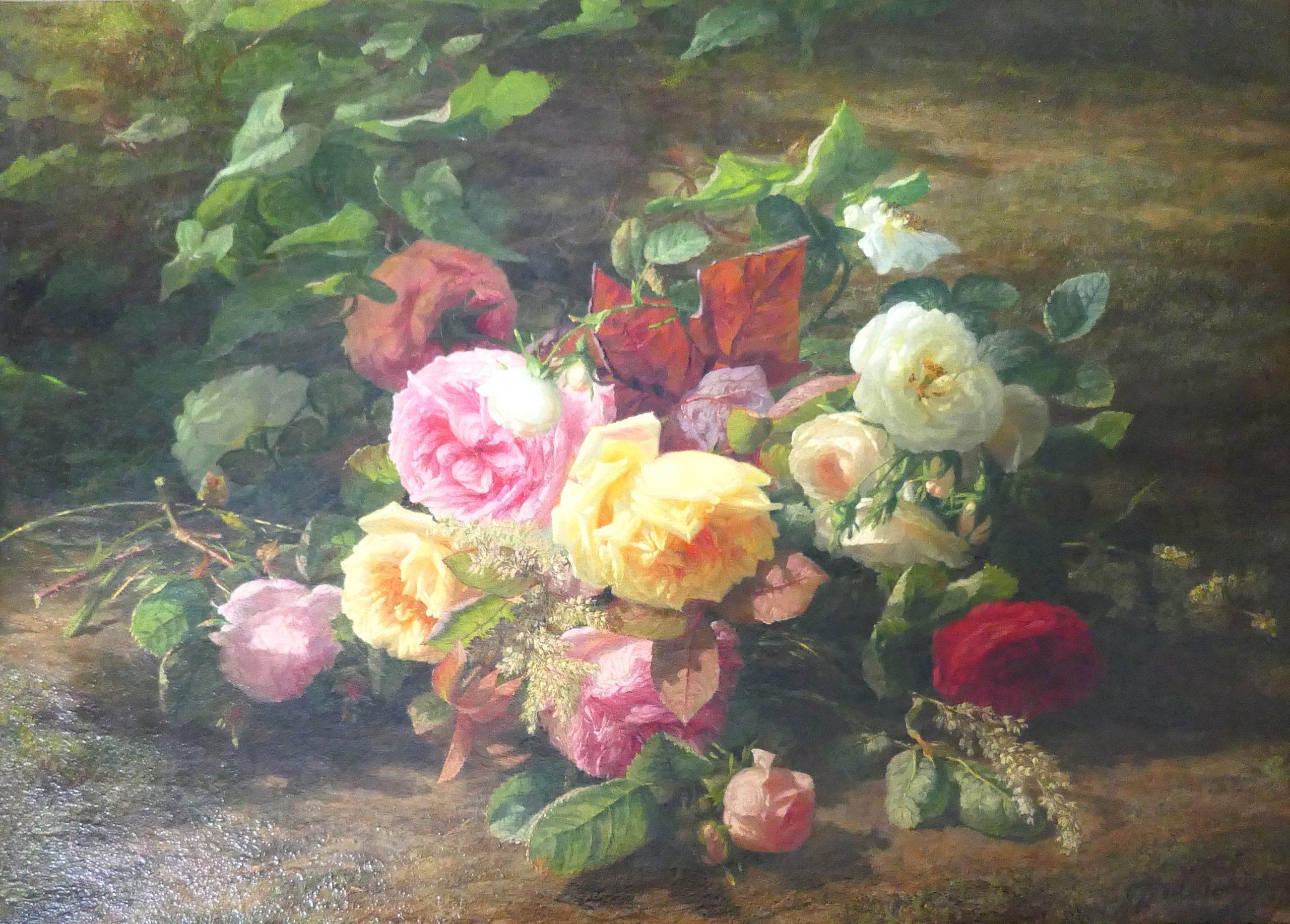 G.J.J van de Sande Bakhuyzen - bloemen in een bos - k