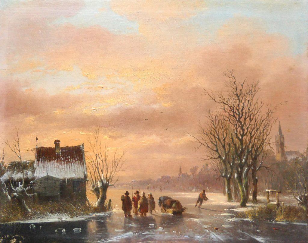 Jacobus van der Stok - Winterlandschap met schaatsers - k