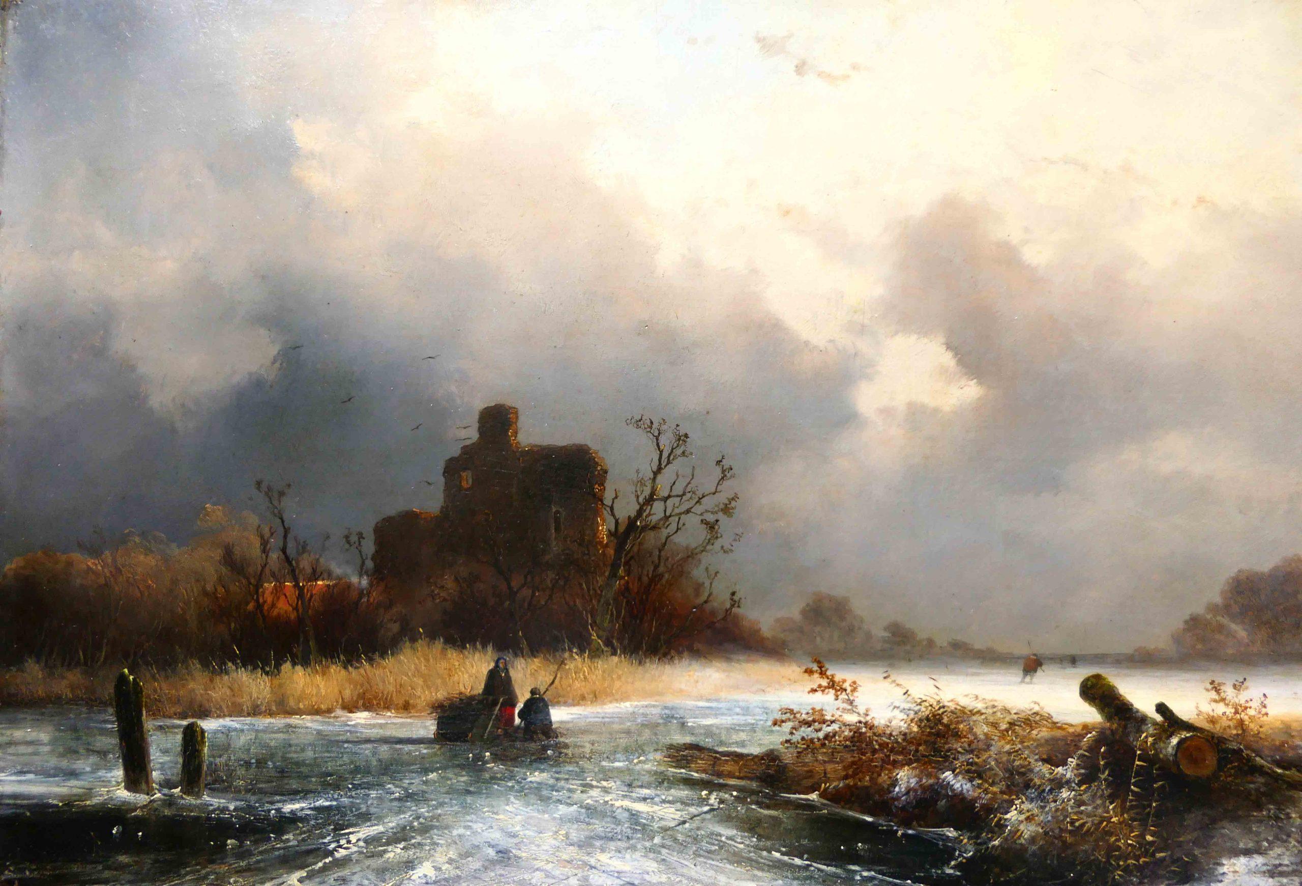 Johannes Franciscus Hoppenbrouwers - houtsprokelaars op het ijs bij een ruine - Liquid Sky Gallery - t
