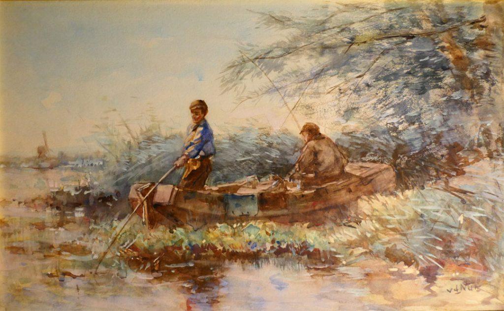 Willem van der Nat - Twee vissers bij een rivier - Liquid Sky Gallery