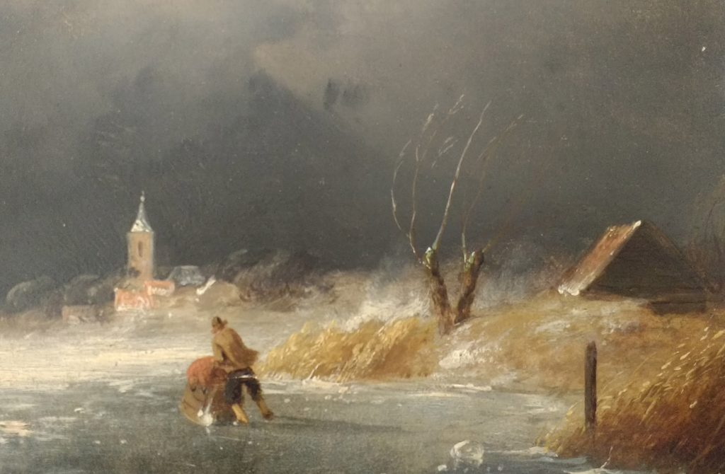 Charles Leickert - Sneeuw in de lucht - detail van het paard met slee links -Liquid Sky Gallery