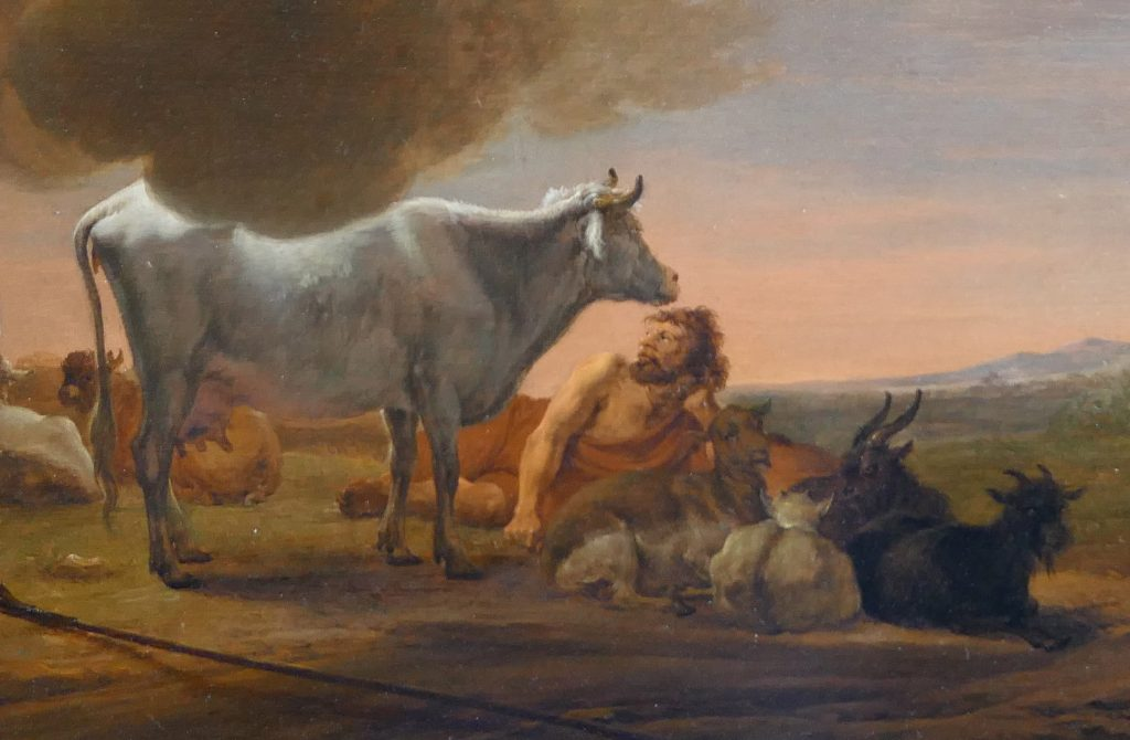 Cornelis Saftleven - Juno and Argus - detail of Argus - Liquid Sky Gallery