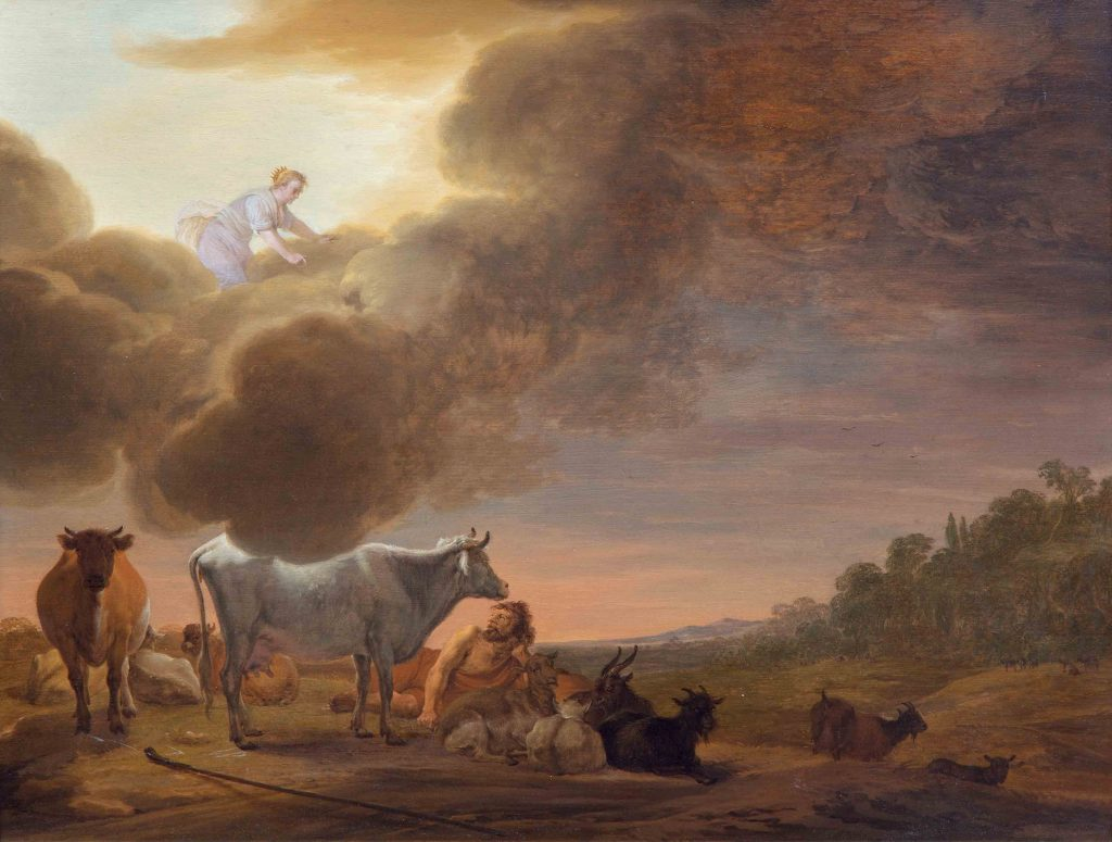 Cornelis Saftleven - Juno and Argus - detail of Argus - Liquid Sky Gallery