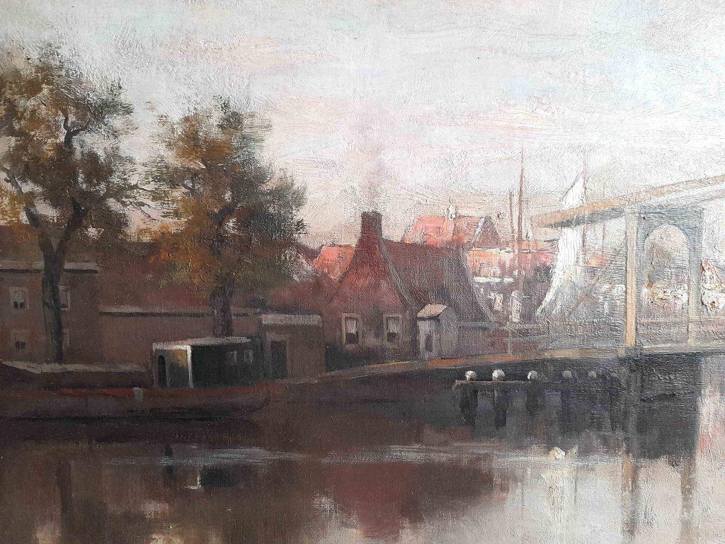 Frederik van Rossum du Chattel - Aan de vecht - detail brug en woonboot - Liquid Sky Gallery