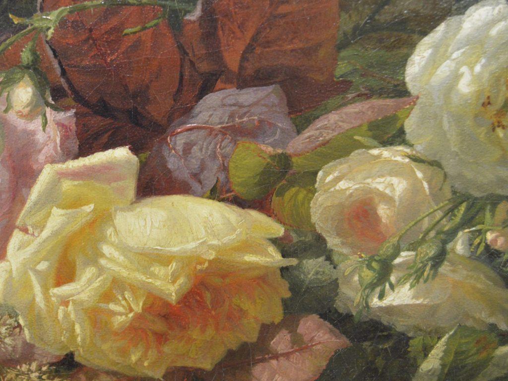 G.J.J van de Sande Bakhuyzen - bloemen in een bos - detail van de bosgrond - Liquid Sky Gallery