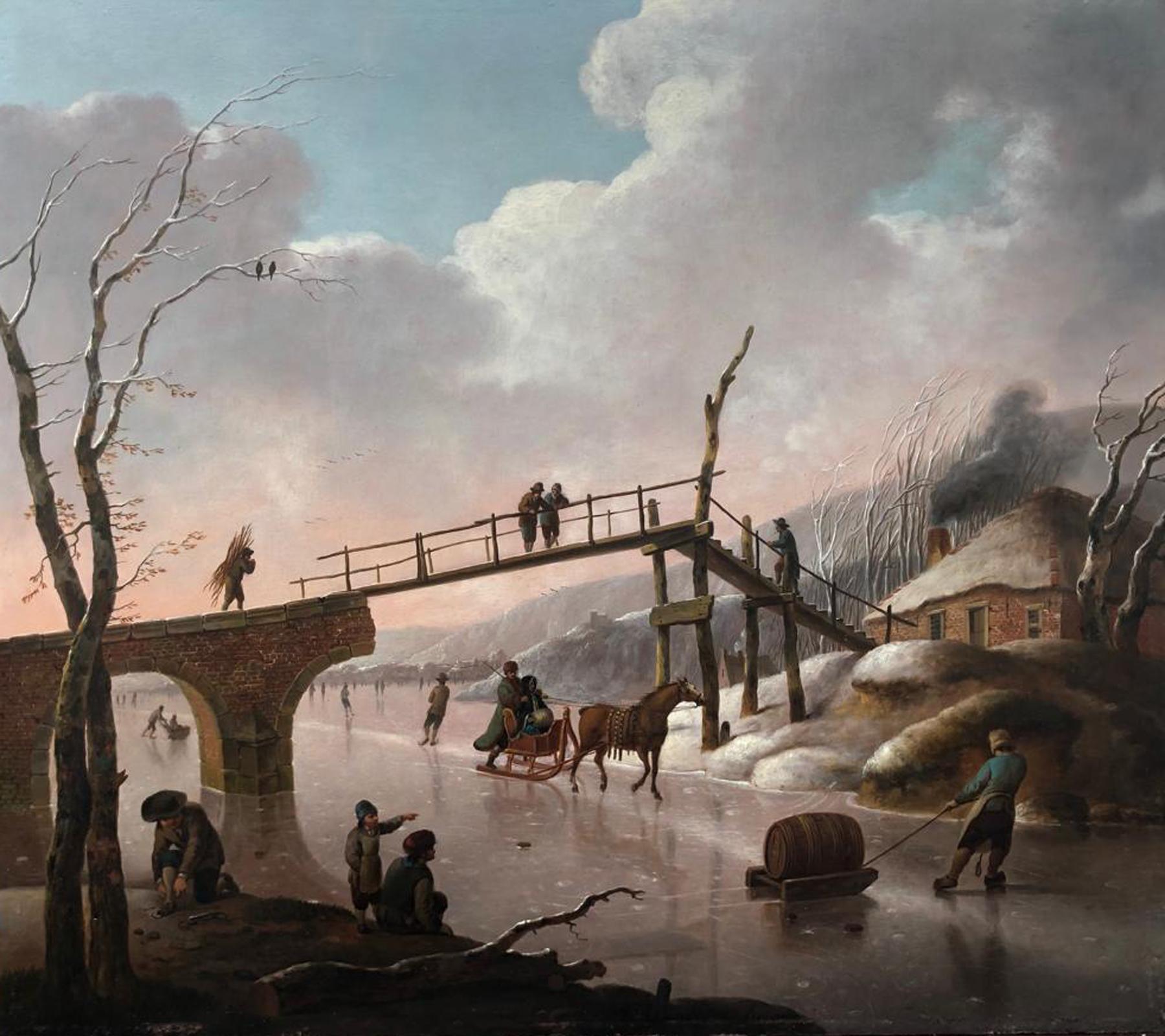 Hendrik Willem Schweickhardt - Een winterdag met vele figuren op het ijs - Liquid Sky Gallery