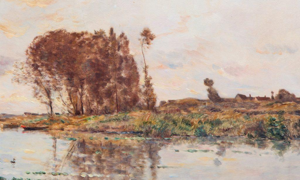 Hippolyte Camille Delpy - Aangemeerde boten in een rivier - Liquid Sky Gallery