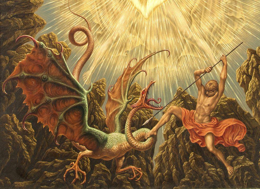 JOHFRA - De muren van Jericho - detail van de draak - Liquid Sky Gallery