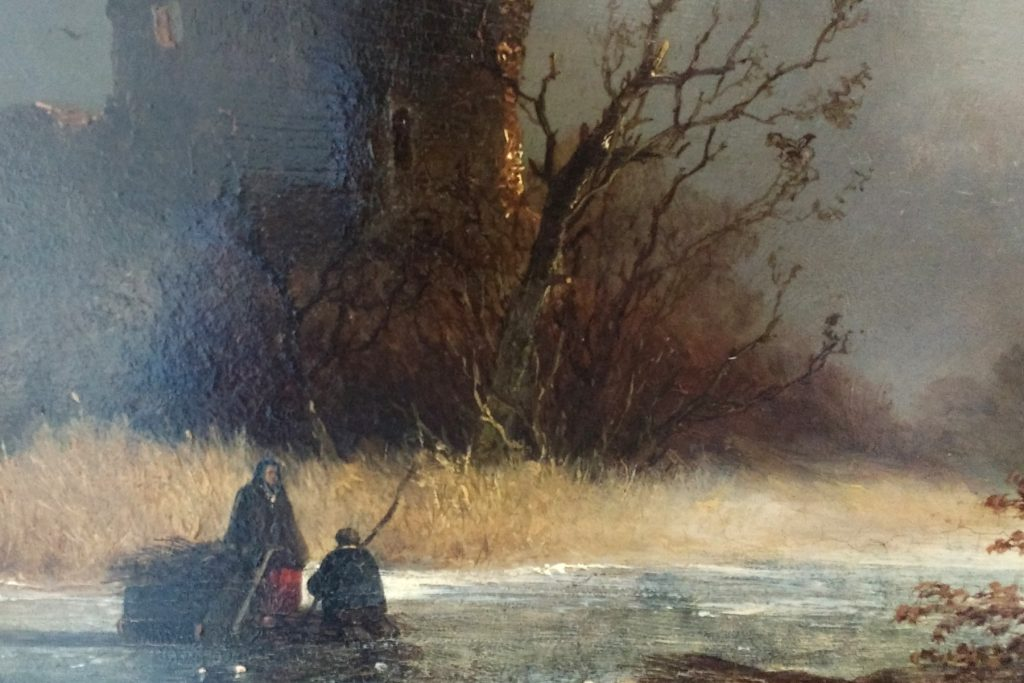 Johannes Franciscus Hoppenbrouwers - houtsprokelaars op het ijs bij een ruine - liquid Sky Gallery