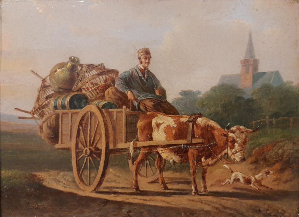 Albertus Verhoesen - Een boer op een koeienwagen met pluimvee - Liquid Sky Gallery