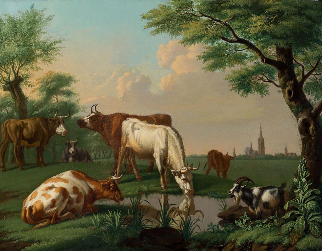 Jan van Gool - Koeien en een geit bij een waterplek - Liquid Sky Gallery