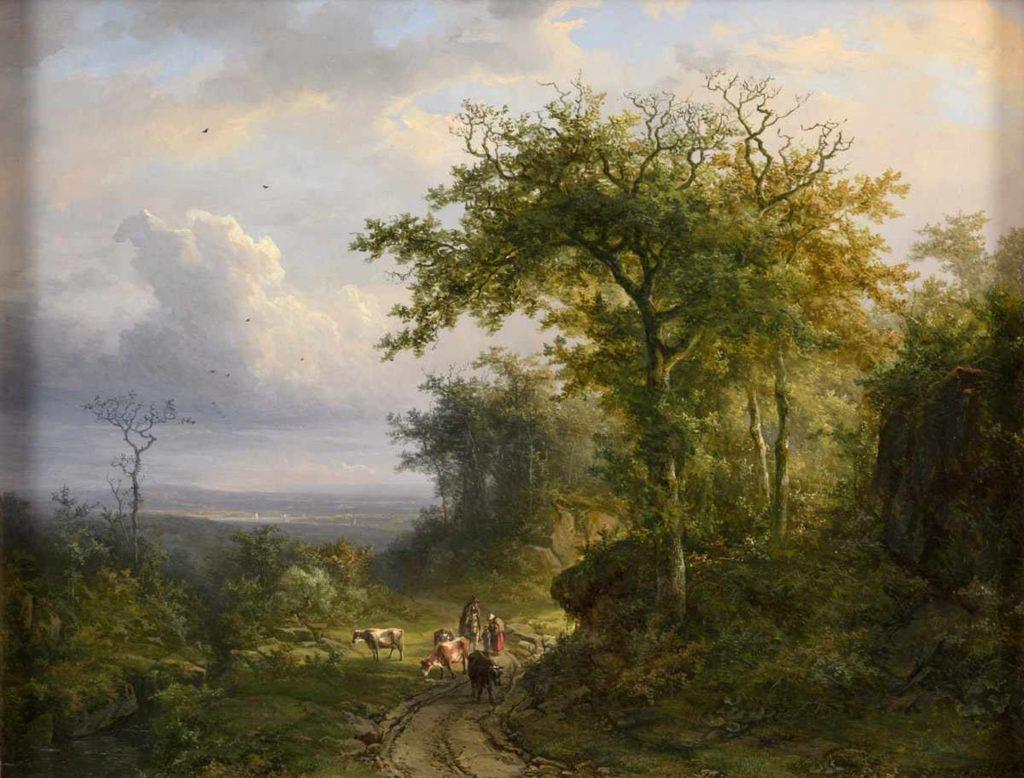 Johann Bernard Klombeck - Panoramisch uitzich nabij Kleef - Liquid Sky Gallery