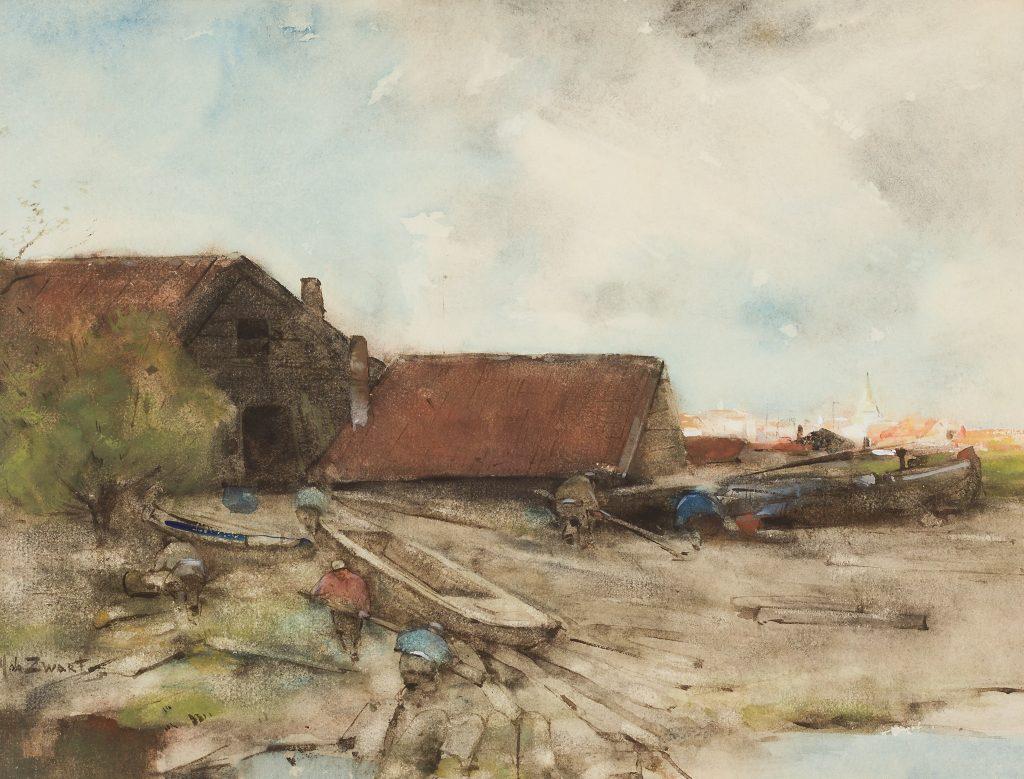Willem de Zwart - Werklui aan het werk in een dok - Liquid Sky Gallery